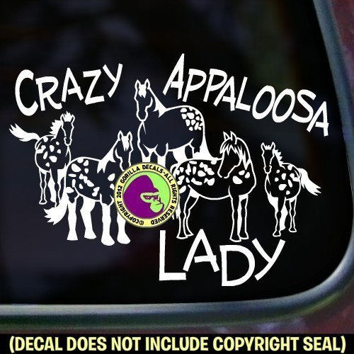 CRAZY APPALOOSA LADY Horses Vinyl Decal Sticker B