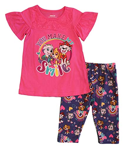 Paw Patrol Little Girls' You Make Me Smile Leggings Set, Hot Pink (6X) -