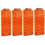 nerf clip darts - OIMIO Bullet Clips, 4 Pack 12-Darts Quick Reload Clips Magazine Clips for Nerf n-Strike Elite Blaster (Transparent Orange)