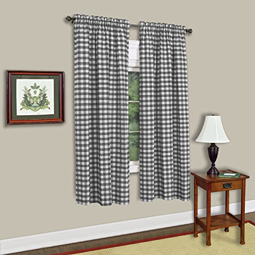 Sweet Home Collection Decorative Buffalo Check Design Kitchen Window Curtain Panel Treatment, 63