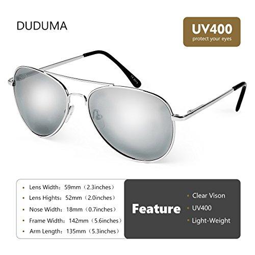 Mode pour cadre et Lentilles Soleil argent Classique de avec Les Femmes de en Lunettes Duduma Conçues argent Premium lentille Hommes avec Uv400 7Y6Fa