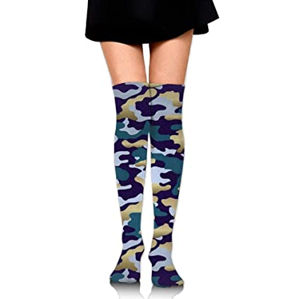 8e52d0aea86 Image Unavailable. Image not available for. Color  YYERINX Fun Camouflage  Thigh High Socks ...
