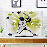 L-QN Protect Your TV Pitcher Hits The Ball st Stars All Over The Speed Strg Game Moti Team Gra Protect Your TV W30 x H50 INCH/TV 52''