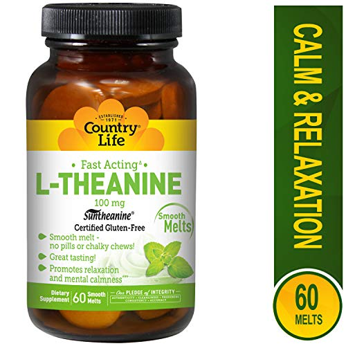 Country Life - L-Theanine, Fast Acting Mint Melts, 100 mg - 60 Smooth Melts