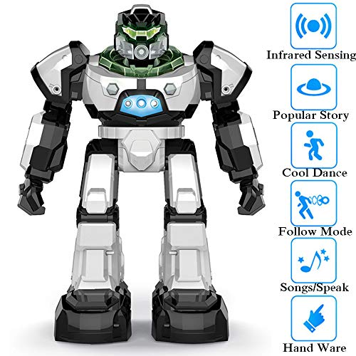 SZJJX RC Robot Toy for Kids, Remote Control Intelligent Programmable Robot with Two Control Modes, Infrared Controller Toys, Dancing, Singing, Led Eyes, Gesture Sensing Robot Kit, White
