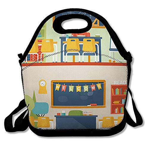 Reusable Lunch Bag for Men Women Classroom Literature Mathematics Blackboard University School Room Teaching Education Insulated Lunch Tote for Travel Office School