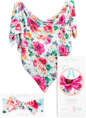 Posh Peanut Baby Swaddle Blanket - Large Premium Knit Receiving Blanket and Headband Set, Baby Shower Newborn Gift (Fuchsia Wild Flower)