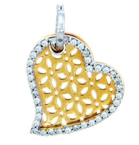 Petits Merveilles D'amour - 14 ct 585/1000 Pendentif en or - Or-Cœur Pendentif en Diamants fines Contour