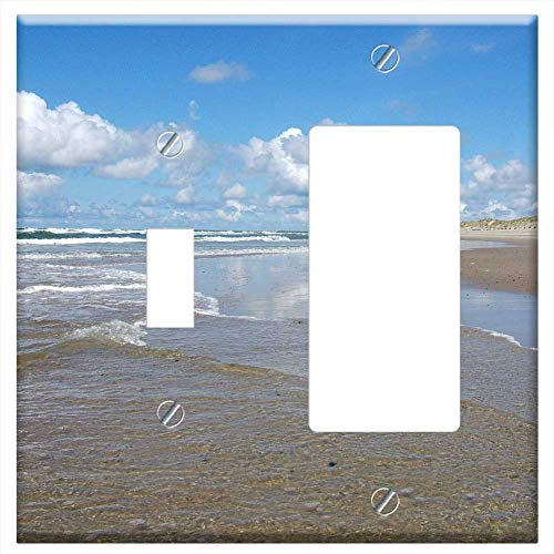 (1-Toggle 1-Rocker/GFCI Combination Wall Plate Cover - North Sea Watts Wadden Sea Beach Nordfrieslan)