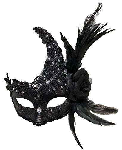 Sheliky Costume Mask Feather Masquerade Mask Halloween Mardi Gras Cosplay Party Masque (Masquerade Halloween Costume Dresses)
