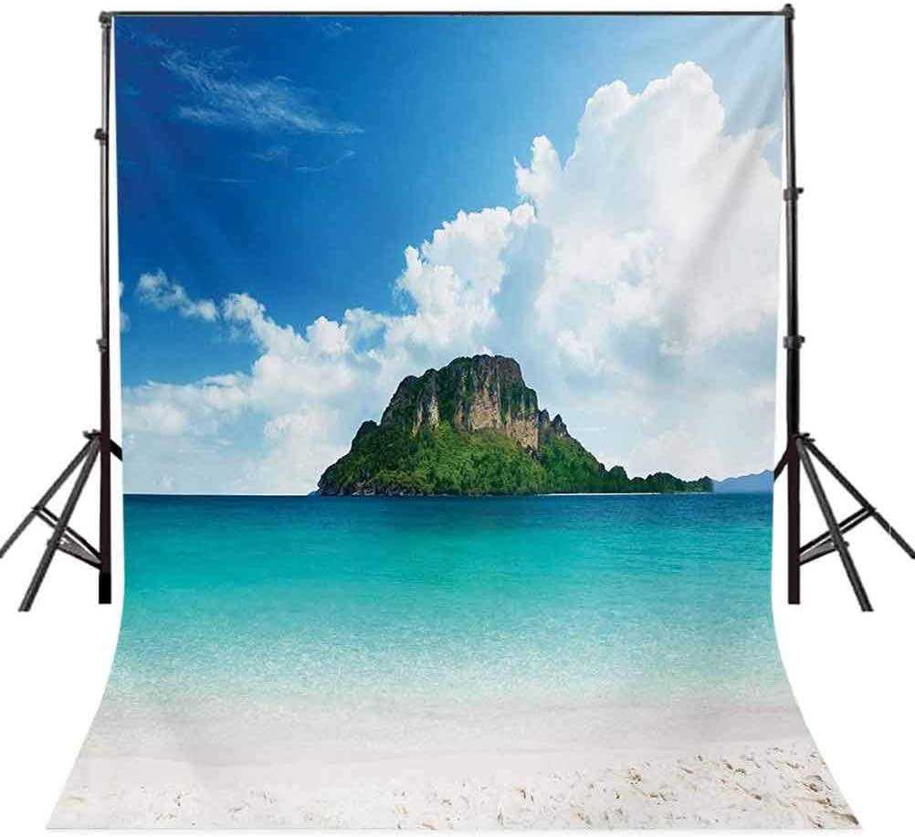 Flower 8x10 FT Photo Backdrops,Aqua Impressionist Depiction of a Field Paint with Blooms Tranquil Concept Print Background for Child Baby Shower Photo Vinyl Studio Prop Photobooth Photoshoot Pale Blu