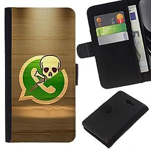 [Neutron-Star] Modelo colorido cuero de la carpeta del tirón del caso cubierta piel Holster Funda protecció Para Sony Xperia M2 [Pirate Skeleton Phone]
