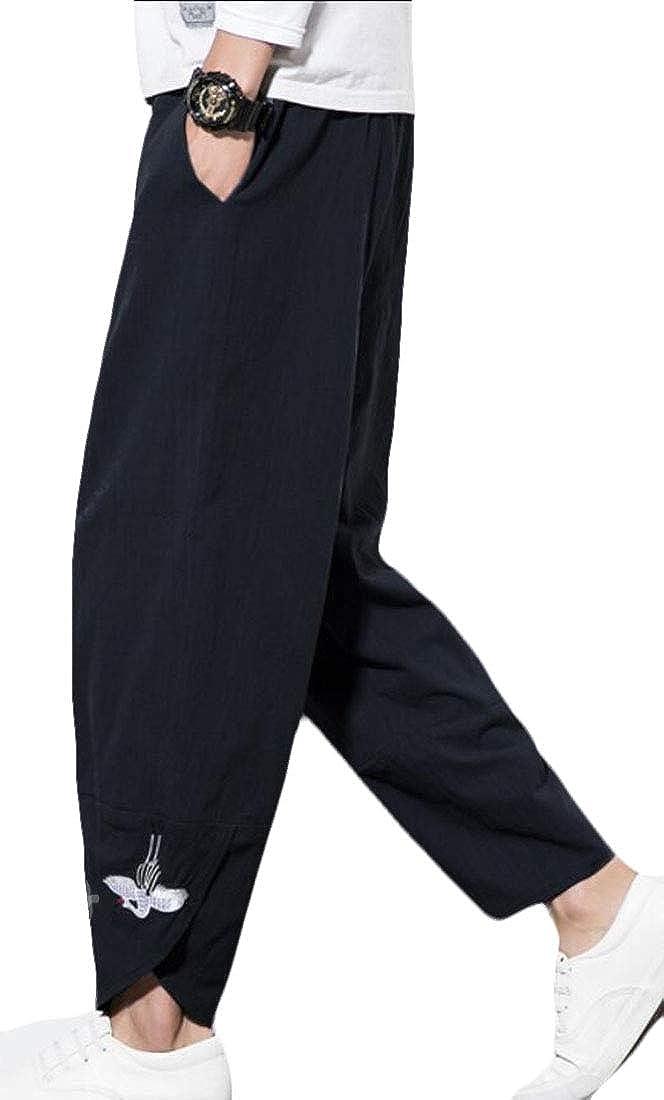 Mens Summer Cotton Linen Long Pants Elastic Waist Loose Fit Pants