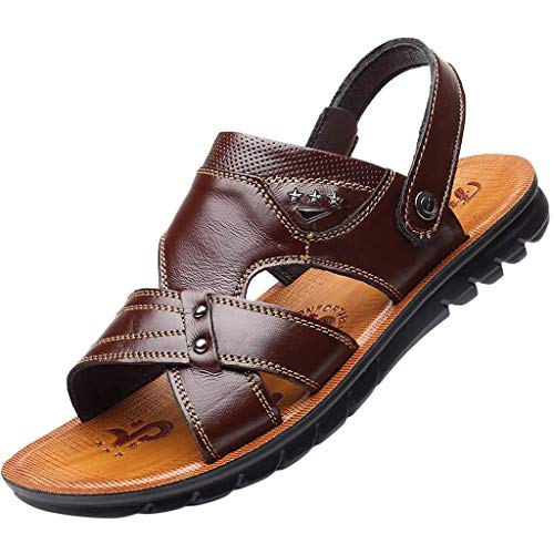 Closeout Special Brown Leather - Men's Leather Rivet Business Sandals,Round Toe Breathable Soft Casual Beach Slippers Loafers Shoes