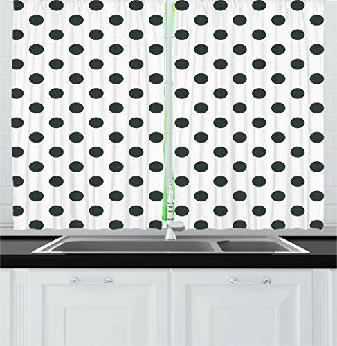 Retro Kitchen Curtains By Ambesonne, Nostalgic Polka Dots Pattern With  Large Round Circles Minimalist Modern