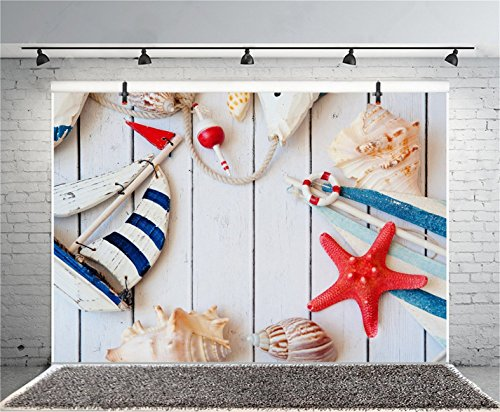 CSFOTO 7x5ft Background for Nautical Themed Birthday Party Decor Photography Backdrop Sailboat Model Starfish on Wood Board Marine Concept Child Kid Portrait Photo Studio Props Polyester Wallpaper by CSFOTO (Image #1)