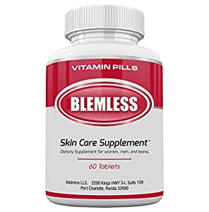 Blemless Clear Skin Supplements Pill- Best Tablets for Oily Skin and a Glowing Complexion | Vitamin Pills for Women & Men That May Help Some Spots & Blemishes 60CT