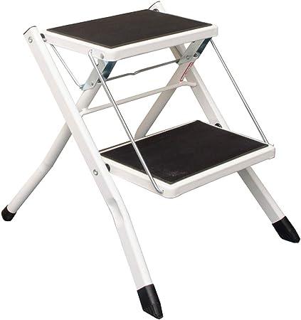 LIYFF-Escaleras plegables Taburete de Escalera de Metal de 2 Pasos Seguridad de la Cocina Alfombrilla Antideslizante Heavy Duty Hogar Hogar Taburete de Paso, Capacidad de 150 kg - Blanco: Amazon.es: Hogar
