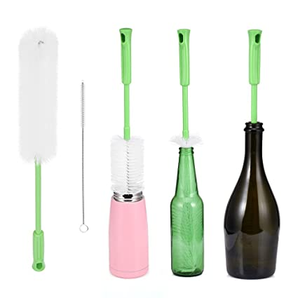 Cepillo de botella Set de 2 – incluye botella de largo cepillo limpiador para lavado cerveza