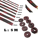 5M 2/4/6/8/10/12/15/20/25mm Wire Gland Cables Protection Black Red Insulation Braided Sleeve Tight PET Expandable Cable Sleeve