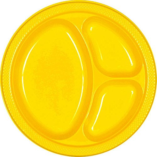 amscan Sunshine Yellow Divided Plastic Plates | 10.25'' | Party Supply | 200 ct.