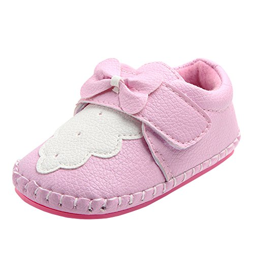 Annnowl Baby Girls Shoes Soft Rubber Sole Sneakers 0-18 Months (12-18 Months, Pink / White)