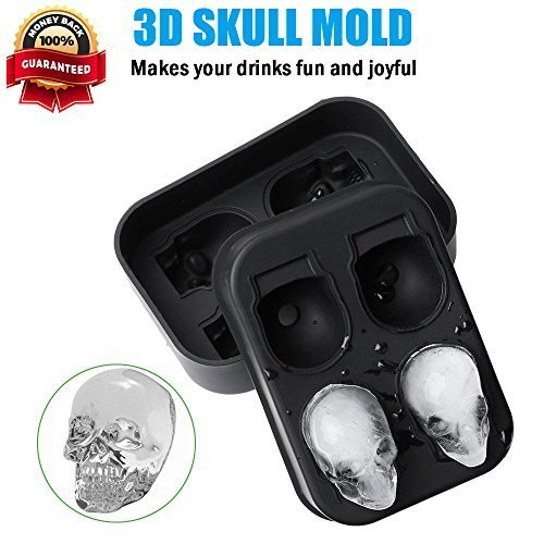 Avanti 3D Skull Premium Silicone Ice Cube Tray Mold Ice Cube Maker for Whiskey Ice Cocktails, Flexible Food Grade Silicone Ice Cube Candy Mold Trays, Perfect For Men Women Kids Christmas Gifts Black