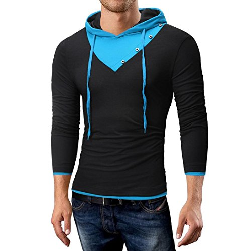 kaifongfu Men's Top,Autumn and Winter Solid Color Hooded for Men Long-Sleeved T-Shirt Top(Black,XL)