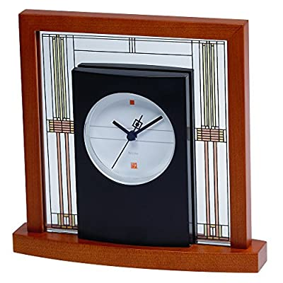 Bulova B7756 Willits Frank Lloyd Wright Table Clock, Light Cherry Finish - Frank Lloyd Wright Collection Solid wood base with a light cherry finish Mineral glass panels - clocks, bedroom-decor, bedroom - 51smEbCzc5L. SS400  -