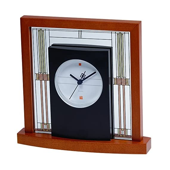 Bulova B7756 Willits Frank Lloyd Wright Table Clock, Light Cherry Finish - Frank Lloyd Wright Collection Solid wood base with a light cherry finish Mineral glass panels - clocks, bedroom-decor, bedroom - 51smEbCzc5L. SS570  -