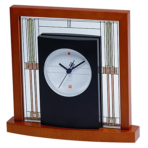 Bulova B7756 Willits Frank Lloyd Wright Table Clock, Light Cherry Finish