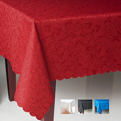 """Turkish Rectangle Tablecloth Polyester Table Cover - Stain Resistant Wrinkle free Non-Iron Dust-proof Oblong Square Round – Table linen Thanksgiving Christmas New Year Eve (RED, Rectangle 60""""x120"""")"""