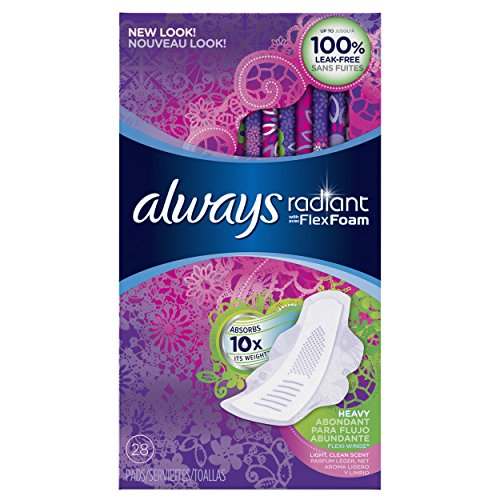 Always Radiant Infinity Heavy Flow With Wings, Scented Pads 28 Count ()