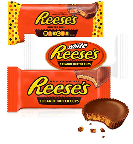 REESE'S Peanut Butter Cups, Halloween Candy, Chocolate Candy Variety Pack (Milk, White, Pieces), 18 Count -