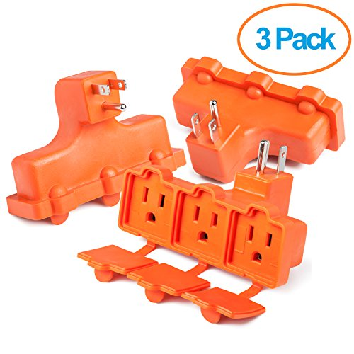 avy Duty Indoor Outdoor Power Splitter with Outlet Covers (Orange - 3 Pack) (3 Grounded Outlets)