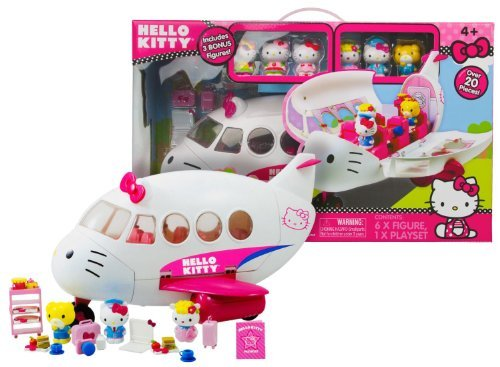 Hello Kitty Jet - Hello Kitty Airlines Playset Includes 3 Bonus Figures with Over 20 Pieces