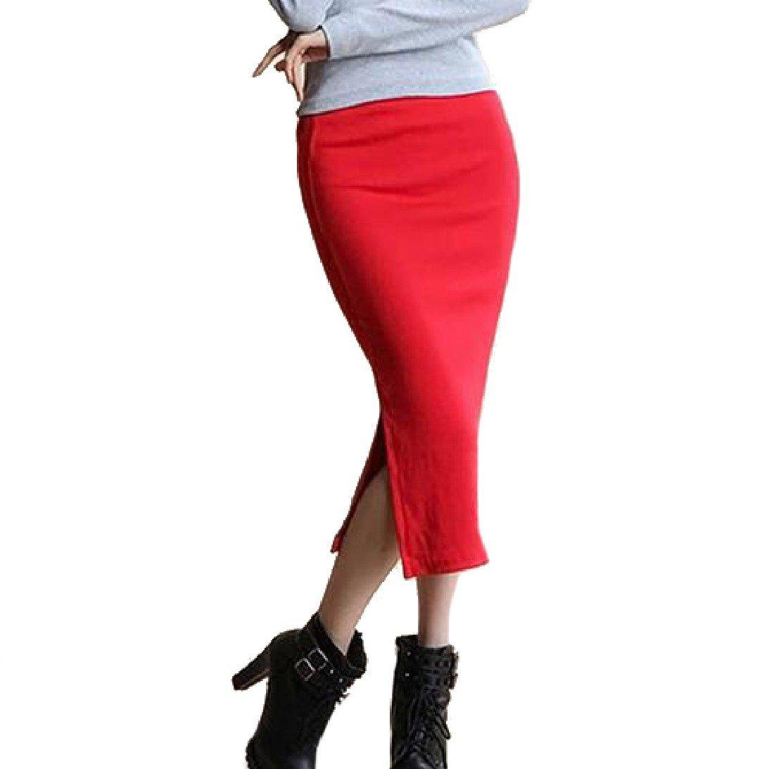 Winwinus Women Middle Waist Fall Winter Split Knitted A-Line Midi Skirt Red OS