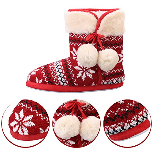 Sibba Knitted Bootie Slippers Mid Calf Indoor House Slipper Boots With Pom-Poms For Womens Ladies Girls Red Zcc7Zh