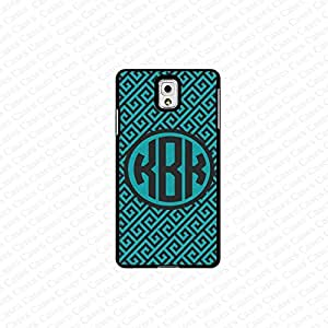 krezy case monogram Galaxy Note 4 case- monogram Personalized cute pattern in teal and black samsung Galaxy Note 4 case- fits note 4 case, at&t, verison, T-mobile.sprint and international (white)
