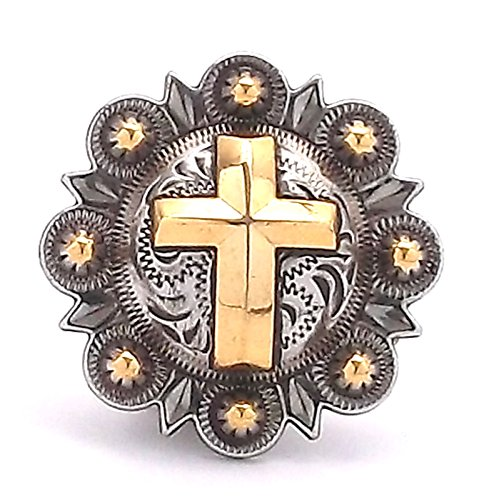 Cross Berry Concho Antique Silver with Rose Gold 1-1/4