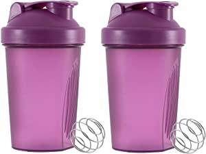 2PCS 400 ML Classic Loop Top Shaker Bottle, Protein Blender Cup with Stirring Ball, Multi-Function water bottle for sports & outdoor (Purple)