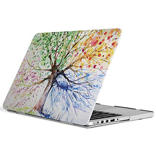 iCasso New Art Fashion Image Series Ultra Slim Light Weight Rubberized Hard Case Glossy Clear Crystal Snap-On Hard Cover Case for MacBook Pro 13 inch Retina (Model: A1425/A1502) - Four Seasons Tree