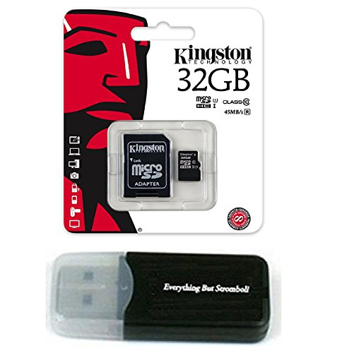 32GB Kingston Micro SDHC Class 10 UHS-1 32G Memory Card works with Samsung Galaxy S8, S8+, S8 Note, S7, S7 Edge, S5 Active, S4, S3, S Tab Cell Phone with Everything But Stromboli Card Reader by Everything But Stromboli & Kingstn
