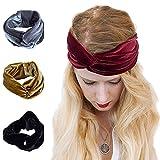 AWAYTR Turban Headwrap Headband for Women Vintage Velvet Soft Elastic Hair Bands