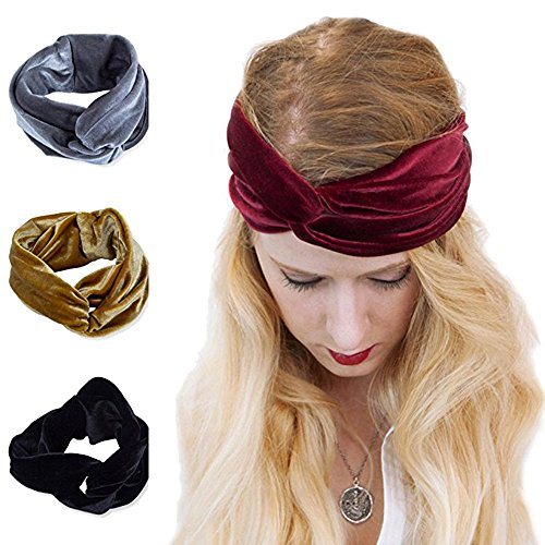 - AWAYTR Turban Headwrap Headband for Women Vintage Velvet Soft Elastic Hair Bands
