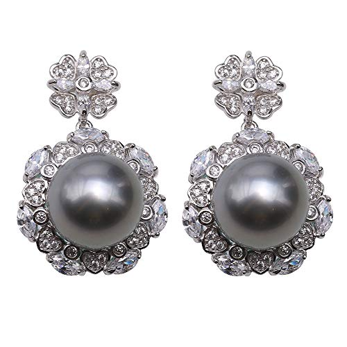 - JYX Delicate 11mm Gray Tahitian Pearl Earring with 925 Sterling Silver