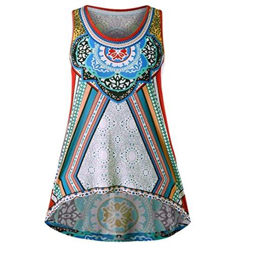 (FEITONG Women National Wind Printing T-Shirt Sleeveless Irregular Hem Vest Tank Tops Blouse(Small,Green))