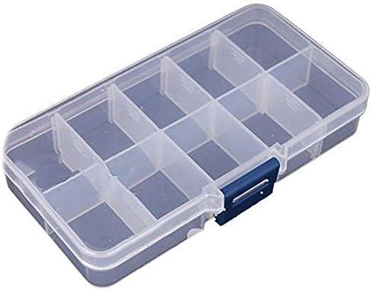 Isuper Recipiente de plástico Transparente Organizador, Divisor Ajustable extraíble Caja para el Seleccionador Pendientes Anillos Perlas de joyería (10 Grid) para su casa: Amazon.es: Hogar