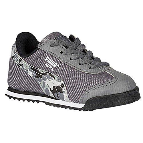 (PUMA Kids Roma Denim Camo Jr Sneakers (1, Steel Gray/Black/White))