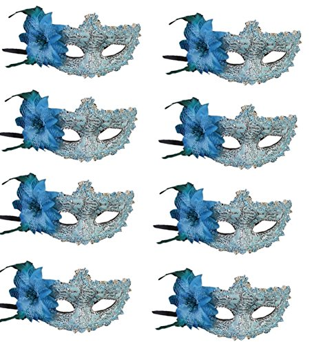 CISMARK Masquerades Venetian Masks Costumes Party Accessory,Blue,One Size (Pack of (Mens Masquerade Costumes Ideas)